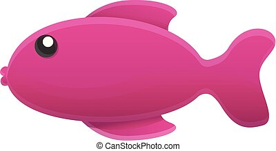 Purple fish icon, cartoon style