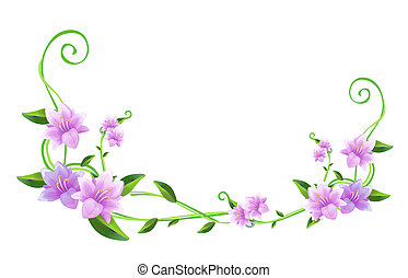 purple flower with green leaves on the white background