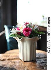 Purple flower in jar