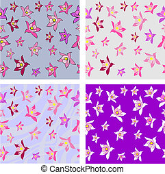 Purple Flower Seamless Background - Purple and Pink Flower...