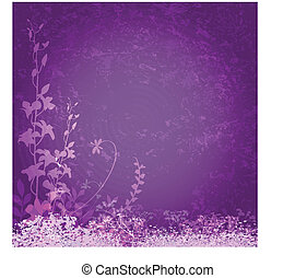 Purple flowers background - Grunge floral frame on purple...
