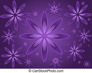Purple Flowers - Graphic illustration of random sized...
