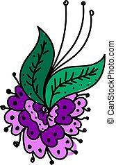 Purple flowers, illustration, vector on white background.
