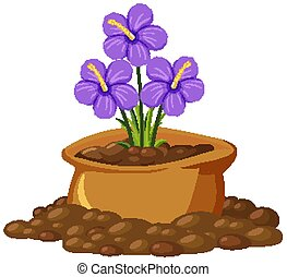 Purple flowers in brown bag on white background