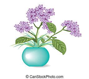 purple flowers in pots