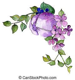Purple flowers. Isolated flower illustration element. Background set. Watercolour drawing aquarelle bouquet.
