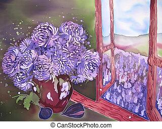 Purple flowers near the window with purple field. Painting...
