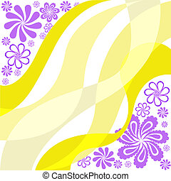 purple flowers on a yellow
