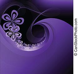 Purple flowers on black