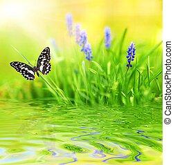 Purple flowers reflected in rendered water