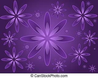 Purple Flowers - Graphic illustration of random sized...