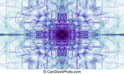 Purple fractal curves on white background. Vintage patterns in tunnel motion, beautiful decoration.