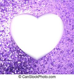 Purple frame in the shape of heart. EPS 8