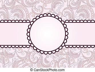 purple frame on a vintage pink background