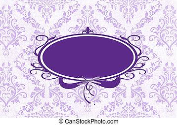 purple frame on damask