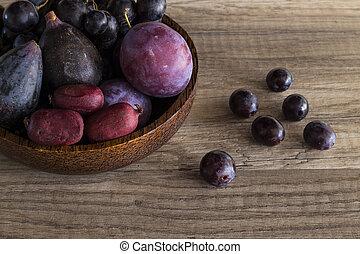 Purple fruit in a bowl