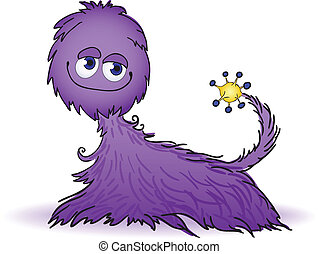 Purple furry creature - cute fluffy creature purple and...