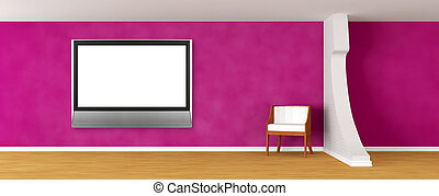 Purple gallery's hall with luxurious chair and lcd tv