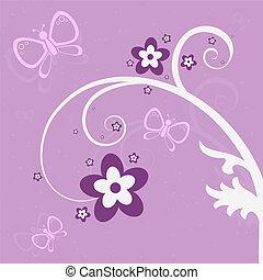Purple Garden Scene - Graphic illustration of pink and...