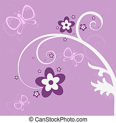 Purple Garden Scene - Graphic illustration of pink and...