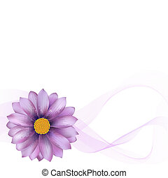 Purple Gerber With Blend, Isolated On White Background, Vector Illustration