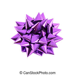 Purple Gift Bow Isolated on White