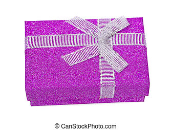 Purple gift box an isolated on white background. Clipping path