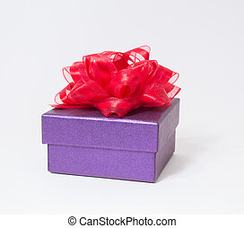 Purple gift box on white background