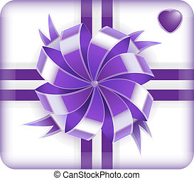 Purple gift box with heart on it isolated on white...