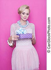 Purple gift box with ribbon