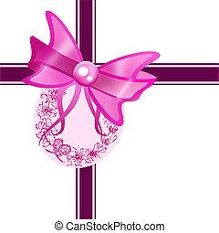 Purple gift ribbon bow