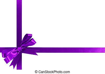 Purple gift ribbon bow horizontal corner cross shape...