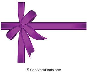 Purple gift, ribbon, bow / vector