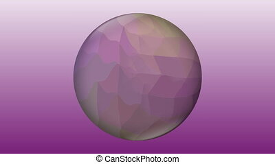 Purple glass ball with liquid crystal filling on purple gradient background. Abstract video animation