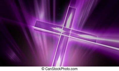 Purple gleaming cross