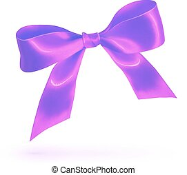 Purple glossy silk bow isolated on white - Purple vector...