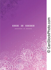 Purple glowing flowers magical vertical template background