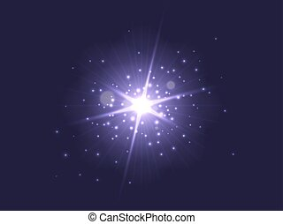 Purple glowing light burst explosion on dark background. Bright star with backlit dust particles. Vector illustration