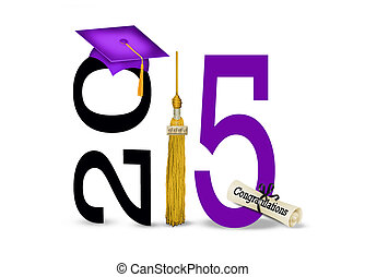 purple graduation cap for 2015