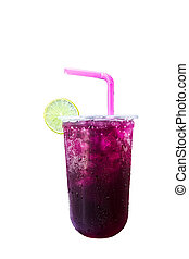 Purple grape soda sweet water Isolated on a white background