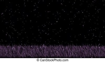 purple grass and falling snowflake