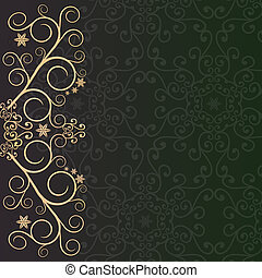 Purple-green background with golden lace floral ornament border