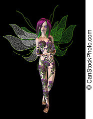 Purple Green Flower Fairy