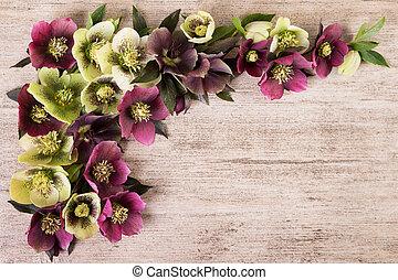 Purple green flowers vintage background