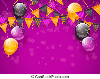 Purple Halloween background with decoration and balloons