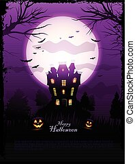 Purple Halloween haunted house background