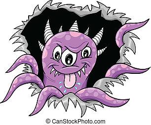 Purple Halloween Monster Vector