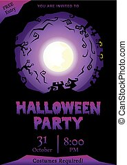 purple halloween party circle silhouette greeting