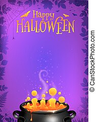Purple Halloween poster template with orange potion in black cauldron