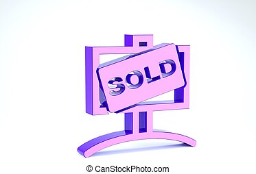 Purple Hanging sign with text Sold icon isolated on white background. Sold sticker. Sold signboard. 3d illustration 3D render